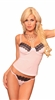 Lovely Day Lingerie Under Wire Camisole G-String Set - Pink With Black Trims