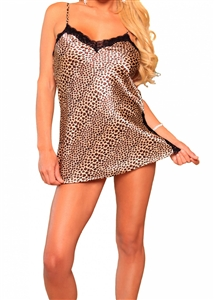 Lovely Day Lingerie Silky Leopard Print Chemise Babydoll with Black Lace Trim